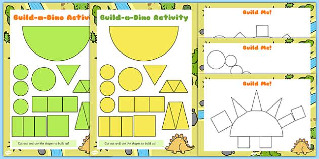 Build a Shape Dinosaur Activity - build, dinosaur, shape activity