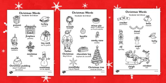 Christmas Words Colouring Sheets Romanian Translation - romanian, christmas, words, colouring, sheets, colour