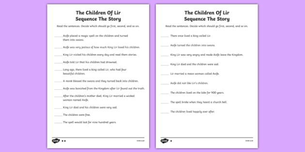 The Children of Lir Read and Sequence Differentiated Activity Sheet - Irish history, Irish story, Irish myth, Irish legends, The Children Of Lir, sequencing, sequence, reading, worksheet