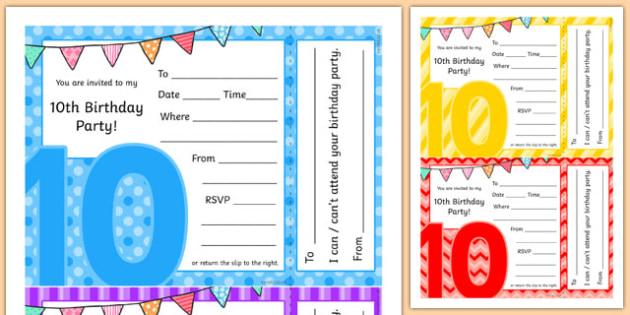 10th Birthday Party Invitations - 10th birthday party, 10th birthday, birthday party, invitations