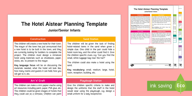 The Hotel Aistear Planning Template - Aistear, Infants, English Oral Language, School, The Garda Station, The Hairdressers, The Airport, T