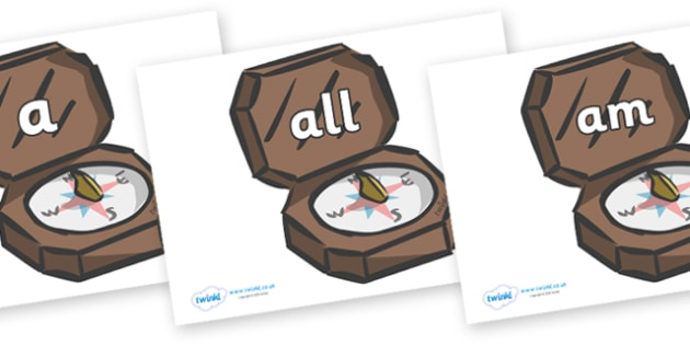 Foundation Stage 2 Keywords on Compasses - FS2, CLL, keywords, Communication language and literacy,  Display, Key words, high frequency words, foundation stage literacy, DfES Letters and Sounds, Letters and Sounds, spelling
