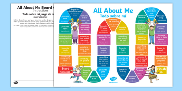All About Me Board Game Spanish Translation--translation