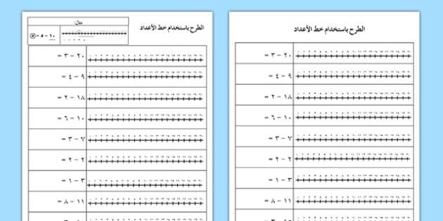 الطرح حتى العدد 20 باستخدام خط الأعداد - الطرح، حساب، أوراق عمل
