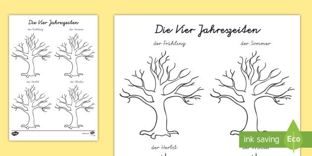 Der jahreszeiten baum arbeitsblatt lesen und four seasons - Baum malen ...