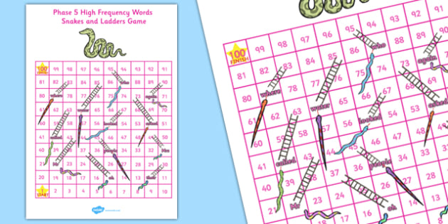 Phase 5 Snakes and Ladders - phase 5, snakes and ladders, snakes, ladders