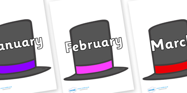 Months of the Year on Top Hats - Months of the Year, Months poster, Months display, display, poster, frieze, Months, month, January, February, March, April, May, June, July, August, September