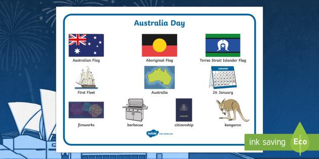 Australia Day Word Mat - australia, day, word mat, mat, word