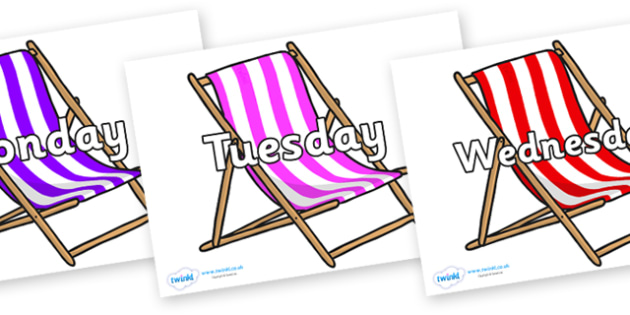 Days of the Week on Deck Chairs - Days of the Week, Weeks poster, week, display, poster, frieze, Days, Day, Monday, Tuesday, Wednesday, Thursday, Friday, Saturday, Sunday
