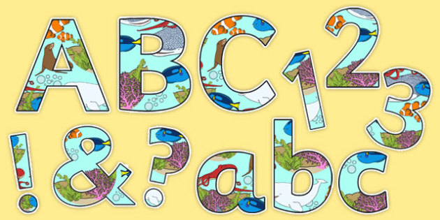 Under the Sea Adventure Display Letters and Numbers Pack - finding nemo, finding dory, under the sea adventure, display letters, display numbers, pack