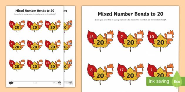 Mixed Number Bonds to 20 Activity Sheet