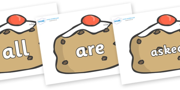 Tricky Words on Currant Buns - Tricky words, DfES Letters and Sounds, Letters and sounds, display, words