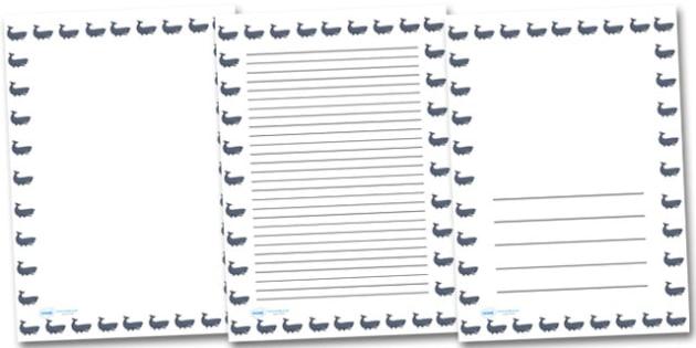 Whale Portrait Page Borders- Portrait Page Borders - Page border, border, writing template, writing aid, writing frame, a4 border, template, templates, landscape