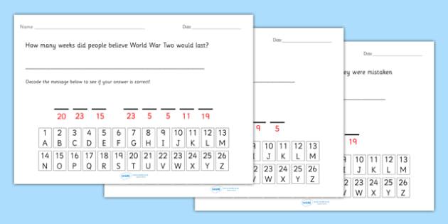 World War Two Cryptogram Fact Worksheets - world war two, world war 2, ww2, world war II, world war two cryptogram, world war two code worksheet