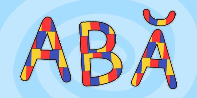 Literele alfabetului romanesc pentru decupat, culorile steagului, Romanian
