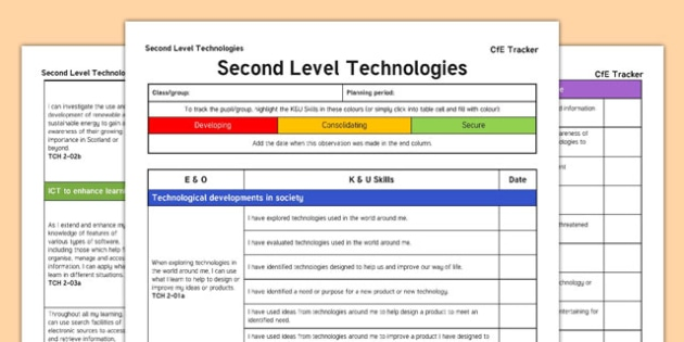 Technologies CfE Second Level Tracker - CfE, planning, ICT, computers, food, textiles, technology, resource conservation, I can, Second