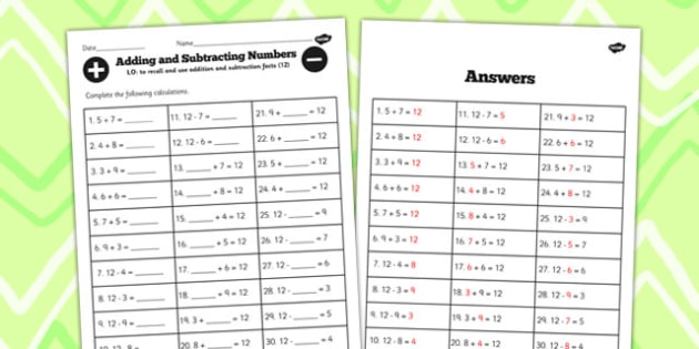 Number Facts to 12 Worksheet - number, facts, worksheet, 12, math