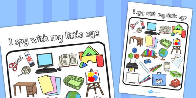 Classroom Themed I Spy With My Little Eye Activity - activity