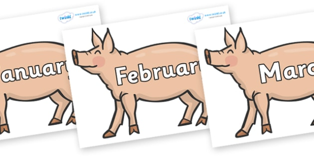 Months of the Year on Pigs to Support Teaching on Pig in the Pond - Months of the Year, Months poster, Months display, display, poster, frieze, Months, month, January, February, March, April, May, June, July, August, September