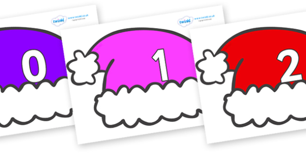Numbers 0-100 on Santa Hats - 0-100, foundation stage numeracy, Number recognition, Number flashcards, counting, number frieze, Display numbers, number posters