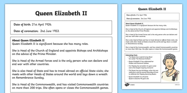 Queen Elizabeth II Differentiated Fact File