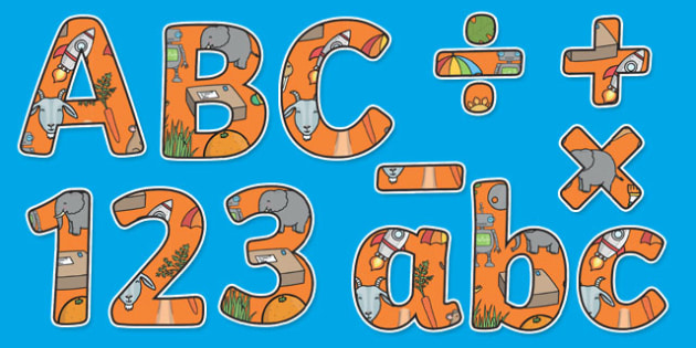 Phase 2 Themed Display Lettering Letters and Numbers Pack - English lettering, English display, English display lettering, phase 2