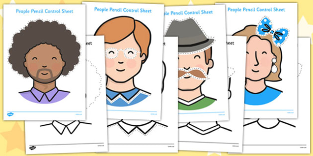 People Themed Pencil Control Sheets  - people, pencil, control, sheets