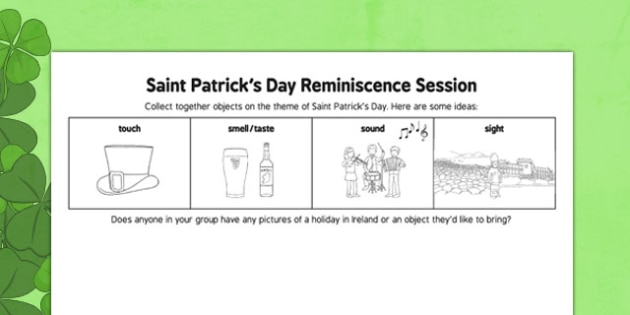Elderly Care St. Patrick's Day Reminiscence Session - Elderly, Reminiscence, Care Homes, St. Patrick's Day, memory, remember