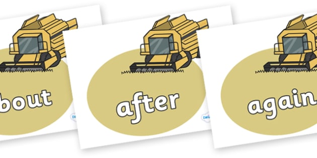 KS1 Keywords on Combine Harvesters - KS1, CLL, Communication language and literacy, Display, Key words, high frequency words, foundation stage literacy, DfES Letters and Sounds, Letters and Sounds, spelling