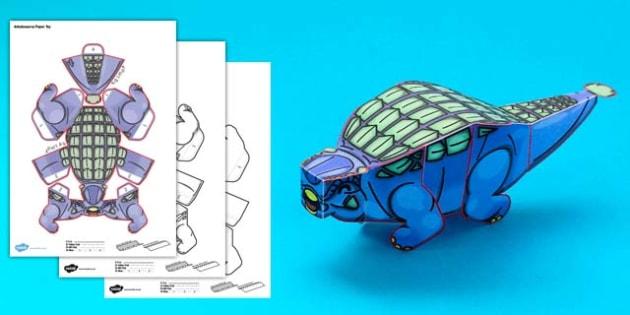Simple 3D Printable Paper Ankylosaurus Dinosaur Activity - simple, 3d, printable, dinosaurs, paper, paper model, model, craft, activity, ankylosaurus