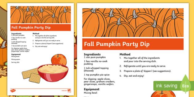 Fall Pumpkin Party Dip Recipe
