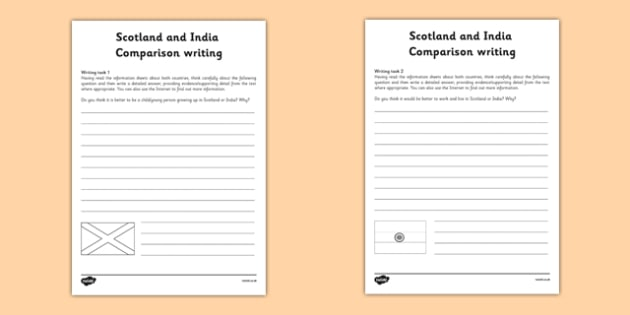 Scotland and India Comparison Writing Task Sheet - CfE, Social Studies, Lifestyle comparison, India, Scotland