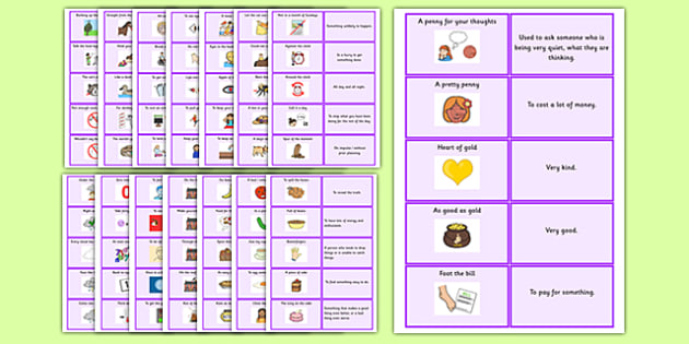 Idioms Matching Cards Pack - idioms, matching cards, pack, sen, matching, match, cards