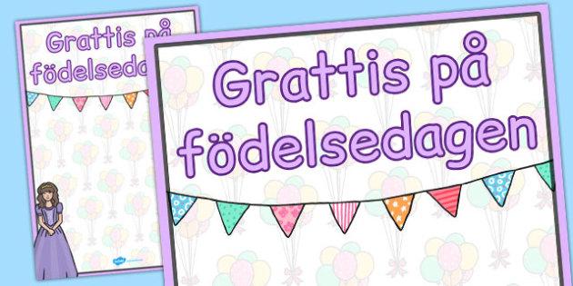 Swedish Happy Birthday Posters Princess Themed - swedish, poster