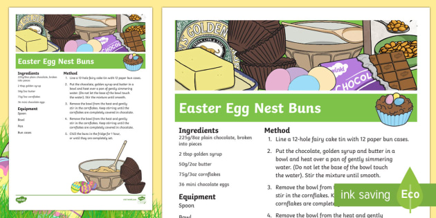Easter Egg Nests Recipe Sheets - easter, easter activities, RE