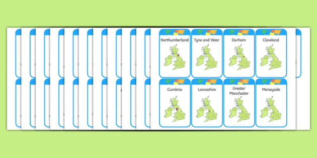 English Counties Card Game - geography, England, geography games