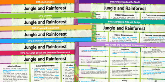 EYFS Jungle and Rainforest Themed Lesson Plan and Enhancement Ideas