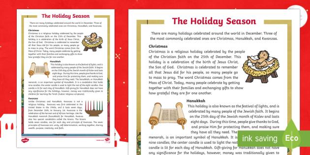 The Holiday Season: Christmas, Hanukkah, and Kwanzaa Simple Fact File - Canada Christmas, holidays, december, christmas, kwanzaa, hanukkah