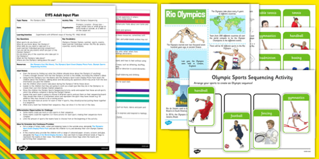 Mini Olympics Sequencing EYFS Adult Input Plan and Resource Pack - Olympics, summer, sports, events, team/partner/individual, winner, Rio, countries, world, Athletes