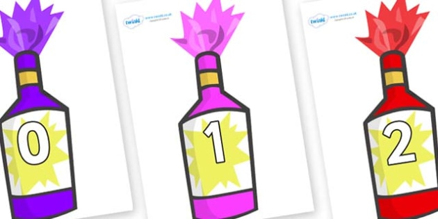 Numbers 0-100 on Party Poppers - 0-100, foundation stage numeracy, Number recognition, Number flashcards, counting, number frieze, Display numbers, number posters