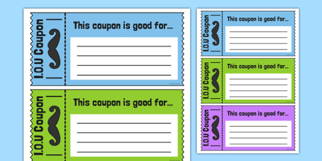 Father's Day IOU Coupons - australia, fathers day, iou, coupons