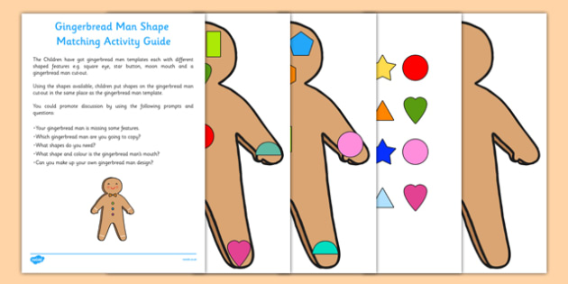 Gingerbread Man Shape Matching Busy Bag Resource Pack for Parents - shapes, maths, eyfs, gingerbread man, shape, matching, busy bag, pack, parents