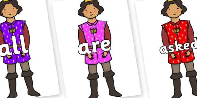 Tricky Words on Princes - Tricky words, DfES Letters and Sounds, Letters and sounds, display, words