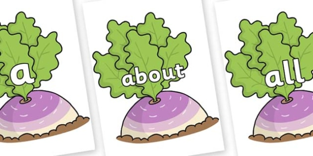 100 High Frequency Words on Turnip in the Ground - High frequency words, hfw, DfES Letters and Sounds, Letters and Sounds, display words