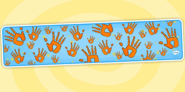 Editable Banner Handprints - editable, editable banner, handprints, display, banner, display banner, display header, themed banner, editable header, header