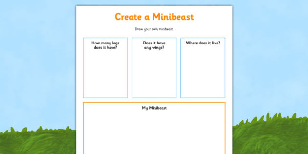 Create a Minibeast Activity Sheet - minibeast investigation, naming minibeasts, describing minibeasts, Minibeasts, Topic, Foundation stage, knowledge and understanding of the world, investigation, living things, snail, bee, ladybird, butterfly, spide