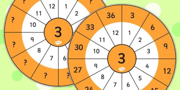 3 Times Table Wheel Cut Outs - visual aid, maths, numeracy