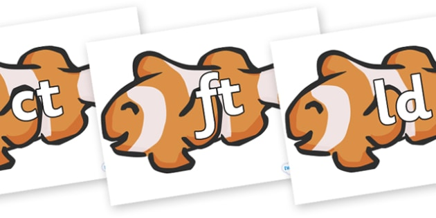 Final Letter Blends on Clown Fish - Final Letters, final letter, letter blend, letter blends, consonant, consonants, digraph, trigraph, literacy, alphabet, letters, foundation stage literacy