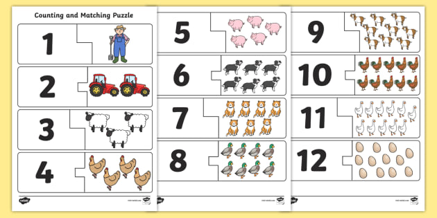 Farm Themed Counting Matching Puzzle - count, match, counting aid