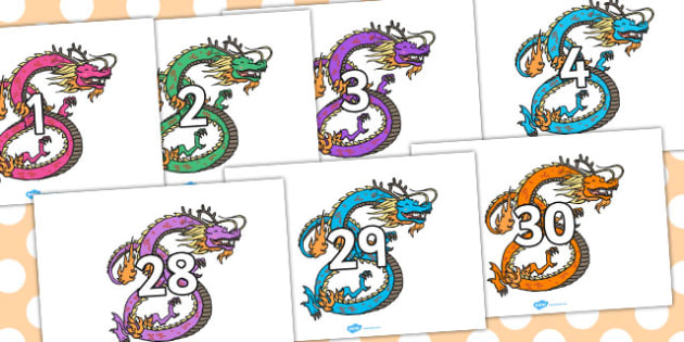 Numbers 0-30 on Coloured Chinese Dragons - Chinese new year, dragon, Foundation Numeracy, Number recognition, Number flashcards, 0-30, A4, display numbers, china, lantern, dragon, chopsticks, noodles, year of the rabbit, ox, snake, fortune cookie, pi